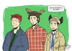 Dean, Sam + Cas sporting our #SupernaturalParody Beanies!  Amazing Fan Art by @Hellredsky! http://ShopHillywood.com
