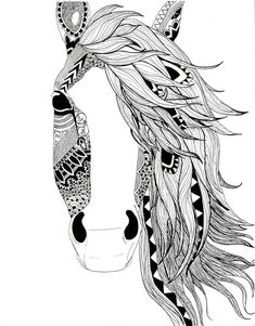 Horse illustration-pen-black and white-aztec pattern