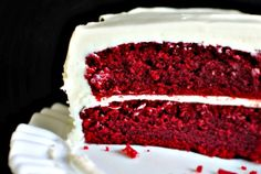 Red velvet cake recipe from scratch. In the oven now!