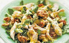 Σαλάτα με κοτόπουλο και καρύδια Greek Recipes, Potato Salad, Potatoes, Cooking Recipes, Chicken, Meat, Ethnic Recipes, Food, Euro