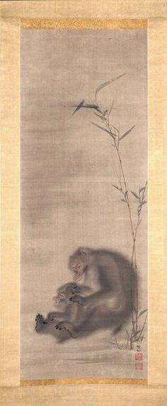 Monkey Grooming Offspring near Bamboo  Mori Sosen (Japanese, 1747-1821)  prior to 1807   Indianapolis Museum of Art