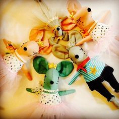 Dancing Mic + Monty - handmade cloth dolls, Eclectic critters