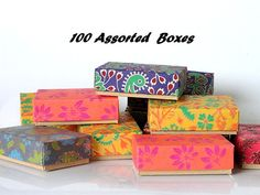 100 assorted print Gift boxes, Packaging box,wedding favor box, Kraft paper box, Jewelry Packaging Boxes