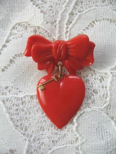 Vintage Red Heart Pin.......Key and Bow......Celluloid Plastic..... Bakelite Era..... Be My Valentine