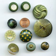 GREEN Celluloid Buttons Vintage Lot of 10 by VintageNecessities, $15.00