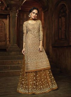 Beige color heavy Embroidered Gorgeous Indian Look Traditional Occasionally Fashion Net Fabric Pant & Lehenga Style Suit For Mother Designer Salwar Kameez, Designer Anarkali, Pakistani Dresses, Indian Dresses, Indian Outfits, Dulhan Dress, Shadi Dresses, Latest Wedding Suits, Long Choli Lehenga