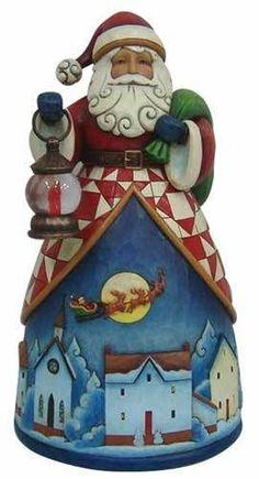 Jim Shore Heartwood Creek CHRISTMAS SANTA WITH NIGHT VILLAGE Figurine 4025489
