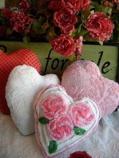 vintage chenille pillows - love!