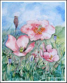 Original Pink Poppy Flower Watercolor Painting, Paintings of Poppies