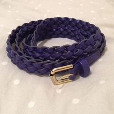 Royal blue braided belt This skinny braided belt from H&M is perfect for adding onto dresses or skirts, or for a touch of color when tucking a shirt in. Faux-leather. H&M Accessories Belts