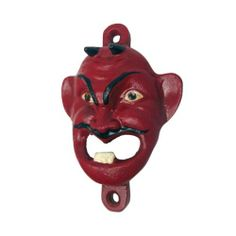 Design Toscano Red Devil Cast Iron Bottle Opener - Cooking and Tableware Furniture Logo, Classic Furniture, Steel Furniture, Furniture Outlet, Discount Furniture, Furniture Ideas, Electric Wine Opener, Wall Mounted Bottle Opener, Stainless Steel Bar