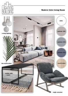 Mood board of , Modern style living room . Mood Board Interior, Interior Design Boards, Modern Interior Design, Room Interior, Interior Architecture, Furniture Design, Moodboard Interior Design, Interior Sketch, Classical Architecture