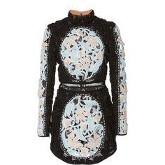 Balmain Mock Neck Mini Crochet Dress (€30.720) ❤ liked on Polyvore featuring dresses, balmain, dresses/gowns, black, macrame dress, high collar dress, mock neck dress, crochet mini dress and crochet dress