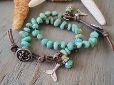 Mermaid knotted bracelet  Malibu Mermaid blue green by slashKnots, $62.00