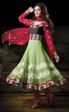 $95.24 Green Embroidered Georgette Anarkali Salwar Kameez 25023