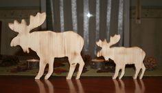 Weihnachtsdeko - Elch, Rentier aus Holz, Holzelch 2er Set - ein Designerstück von gs-industries-shop bei DaWanda