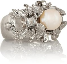 Alexander Mcqueen Silver Silver Plated Swarovski Crystal and Faux Pearl Ring