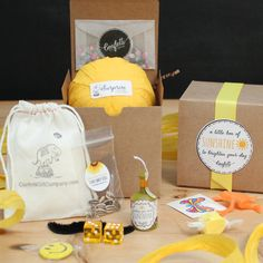 Sunshine Surprise Ball - Box of Sunshine // Get Well Gift // Thinking of You Gift // Thank you Gift by ConfettiGiftCompany on Etsy