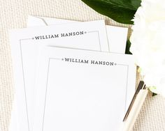 Personalized Notecard Set - Professional Simple Border Mens - Set of 12 Flat Personalized Stationery / Stationary Cards - letterhead, for dad. 15 for 12.