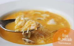 Sopa de pescado Lunches And Dinners, Meals, Recipe For 4, Fish Recipes, Cheeseburger Chowder, Thai Red Curry, Feta, Ethnic Recipes, Soups