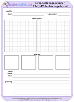 scrapbook page planner worksheet printable free worksheet scrapbooking pinterest free. Black Bedroom Furniture Sets. Home Design Ideas
