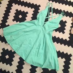 Nasty Gal Size Small Turquoise Cocktail Dress Double Cross-back party dress Nasty Gal Dresses Mini