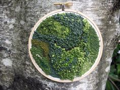 Moss embroidery - Penny Nickels. I love the concept behind this piece. It reminds me of a magnifying glass, whereby the artist has brought out an area of the trees texture. Embroidery is a key interest in mine. I love the detail added into the moss and the varying shades of green which adds to the realism of the piece.