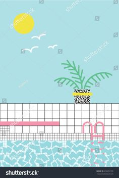 Pool Fun, Cool Pools, Swimming Pools, Pastel, Map, Pools, Illustrations, Artists, Swiming Pool