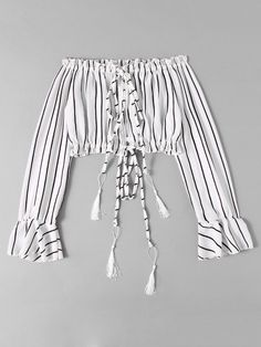 Shop Bardot Drawstring Split Striped Crop Blouse at ROMWE, discover more fashion styles online. Girls Fashion Clothes, Teen Fashion Outfits, Hippie Outfits, Kpop Outfits, Outfits For Teens, Trendy Outfits, Trendy Teen Fashion, Cute Comfy Outfits, Cute Girl Outfits