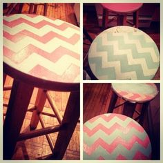 DIY project: Baby blue/pink chevron stools. All it took was some spray paint, masking tape, and sand paper.