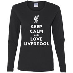 Keep Calm and Love The Reds G540L Gildan Ladies' Cotton LS T-Shirt