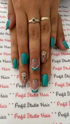 Cute Nail Designs For Spring – Your Beautiful Nails Fancy Nails, Love Nails, How To Do Nails, Teal Nails, Ombre Nail, Style Nails, Green Nails, Matte Nails, Black Nails