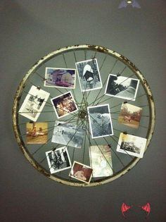 <br> Photo Frame Display, Photo Wall Collage, Photo Displays, Display Ideas, Picture Frame, Creative Photo Frames, Creative Photos, Vintage Bike Decor, Diy Locker