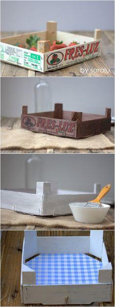 caja reciclada                                                                                                                                                                                 Más Diy Arts And Crafts, Hobbies And Crafts, Diy Crafts, Fruit Box, Wooden Crates, Diy Box, Diy Birthday, Wood Boxes, Diy Projects To Try