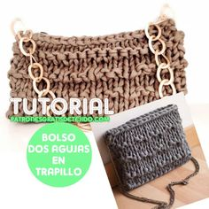 Bolso tejido en trapillo con dos agujas / Tutorial