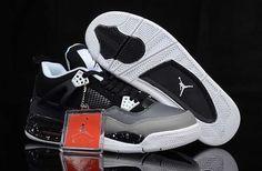 check out 1d580 903c2 UK Trainers Size Nike Air Jordan 4 Mens Black Grey White Men Sneakers,  Jordan