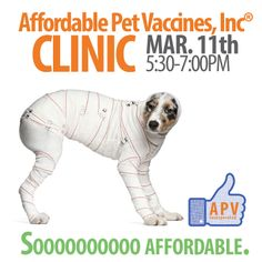 Oh my goodness!  These clinics are soooooo affordable :)  Come to Keystone Pet Place again for this month's Tuesday night Affordable Pet Vaccines Inc.® Clinic hosted at our store in Mount Joy.  Follow the link for affordable prices: http://www.keystonepetplace.com/blog/wp-content/uploads/2014/02/March-2014-Affordable-Pet-Vaccines-Clinic.jpg.  Note - the prices reflect a cash discount and they don't accept checks.  Yay.