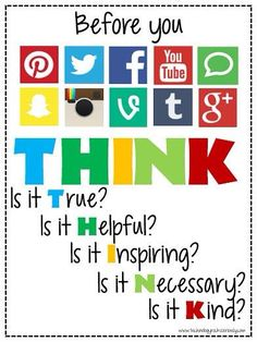 We love this graphic reminding students to think before they post so they can practice good digital citizenship online. Safe Internet, Internet Safety, Middle School Counselor, School Counseling, Elementary Counseling, Elementary Library, Elementary Schools, School Posters, Classroom Posters