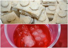 Small Lego-block sandwiches and a red drink with Lego-shaped ice cubes.