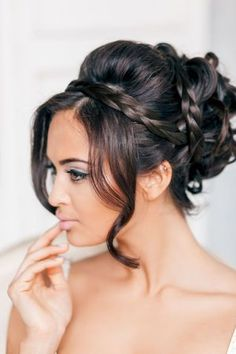 Wedding Hairstyles: Plaid updo & neutral make-up.