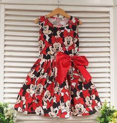Vestido Infantil Minnie Carinhas - Vestido Minnie super charmoso em algodão.