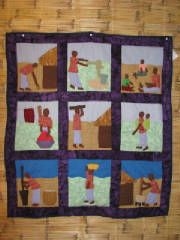 Quilt depicting daily life for a woman in Malawi.  Sales of quilts go back to Malawi.