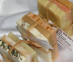 From our shower to yours? No? Too cheesy? Cold Process Natural Soap Set by Wild Herb - Set of 3 Slices - Nice gift or Travel set. $1.85, via Etsy.