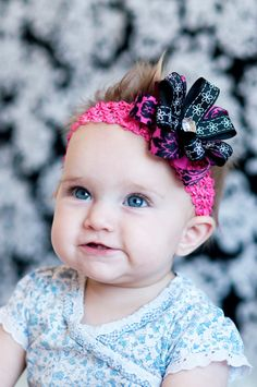 baby hair bow... dark pink and black flower hairbow Clip ... infant headband. A perfect hairbow for newborn, toddler and little girls via Etsy