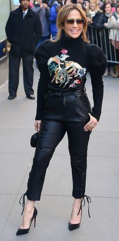 J.Lo, Queen of Costume Changes, Wows in 7 Different Outfits - Back in Black from InStyle.com