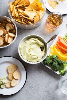 Creamy Avocado Dip    2 ripe avocados  4 ounces fresh goat cheese, crumbled (about 1 cup)  1 teaspoon freshly squeezed lemon juice  1/4 teaspoon kosher salt