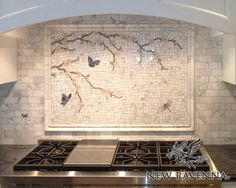Interchangeable Kitchen Backsplash. See More. Plum Blossom With Butterflies  | New Ravenna Mosaics At Http://newravenna.photoshelter