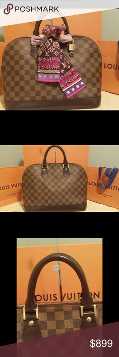 💯% authentic Louis Vuitton alma pm 100% Authentic Louis Vuitton Damier ebene Alma Comes with dust bag, lock and key only. Pre-owned Bag in great condition. Show minor sign of usage, Minor scuff on the bottom corner, tarnishing to zipper pulls, handle minor scuff. No smell, No rip, No stain on the canvas. Very clean inside out. Please check all the pictures for visual detail and In order to avoid unnecessary return. 100% Authentic or your money back. Louis Vuitton Bags Satchels
