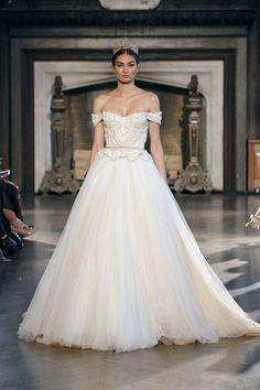 Gorgeous wedding dresses we could totally see on a princess -- come see them all, including another view at this off-the-shoulder ballgown with a belted waist