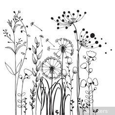 Doodle Drawings, Doodle Art, Flower Line Drawings, Botanical Line Drawing, Flower Doodles, Doodle Flowers, Floral Doodle, Abstract Flowers, Flower Art
